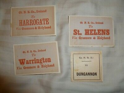 4x IRISH RAILWAY LUGGAGE LABELS TO DUNGANNON, HARROGATE, ST HELENS, WARRINGTON