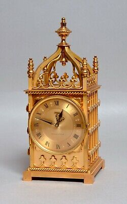 A Beautiful Quality Vintage Imhof Swiss Chiming Solid Gilt Bronze Mantel Clock