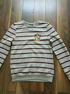 Ladies Girls PRIMARK Harry Potter Gryffindor Grey Stripe Preppy Sweatshirt 2XS