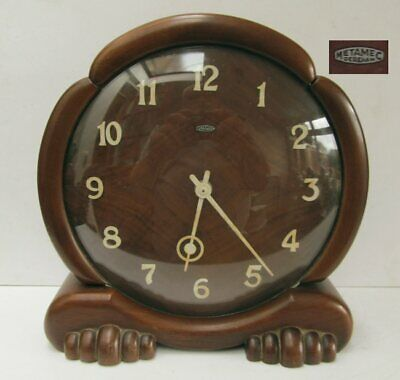 Vintage Metamec Art Deco Wood Windup Mantle Clock - Working