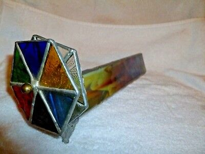 Vintage Handmade Dual Stained Glass Spinning Wheel Kaleidoscope Science Optical