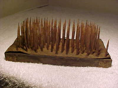Early Primitive  Wooden Flax Hatchel Wool Comb Square Nails Patina Wear