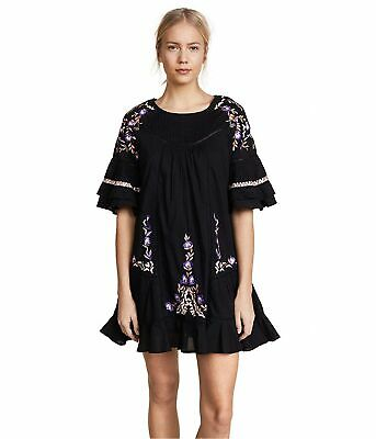 Free People Womens Pavlo A-line Baby Doll Dress, Black, Large