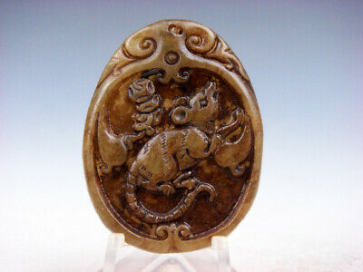 Old Nephrite Jade Hand Carved *Zodiac Mouse & Coins* Pendant #02222010