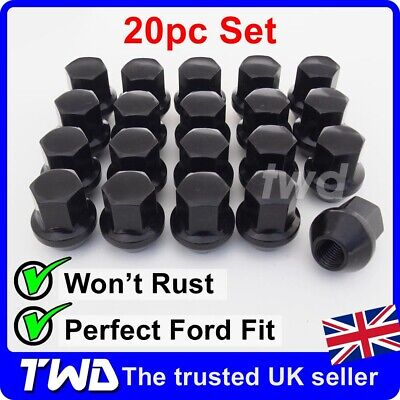 20x BLACK ALLOY WHEEL NUTS - FORD FOCUS MK1 MK2 MK3 MK4 ST RS M12x1.5 BOLT -20B