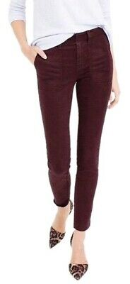 J.CREW Burgundy Wine Skinny Stretch Cargo Ankle Pants with Pockets Size 27