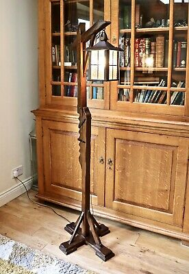 "Arts & Crafts look oak ""gallows""  lantern Old Charm style floor / standard lamp"
