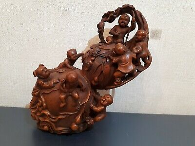 "Rare Old Chinese Boxwood Hand Carved 6"" Gourds Tongzi Kids Lucky Statue"