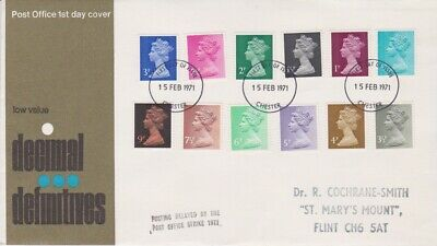 Gb Stamps First Day Cover 1971 Machin Definitives Chester Rares Collection
