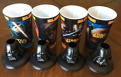 "STAR WARS 7 ELEVEN SLURPEE ""DARTH DEW"" CUPS Set Of 4 Released In 2005 With Lids"