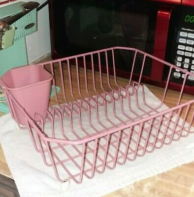 VTG RARE PINK Retro Rubber Maid Plastic Coated Metal Kitchen Dish Drainer Rack