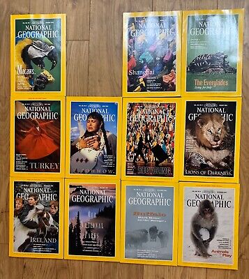National Geographic Magazines 1994 x11 Issues & Maps Bundle Job Lot