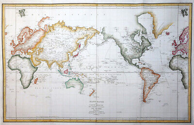 Weltkarte Worldmap Mappe Monde Wall Map Globe Weltkugel La Perouse Paris 1797