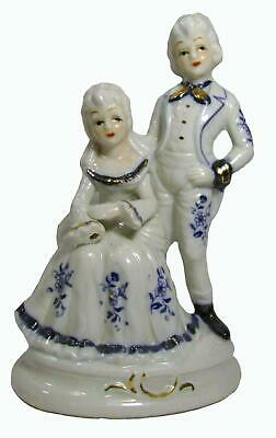 Victorian Style Blue White China Porcelain Figurines Statue 60s Japan