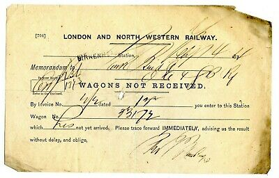 Lnwr 1874 Memo From Birkenhead To Oa&Gb Rly, 'Wagons Not Received.'