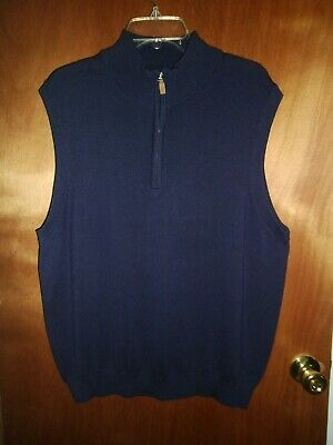 Roundtree /& Yorke Mens 1//4 Zip Sweater Vest Black Silky Collection Cotton NEW