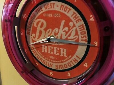 Beck's Beer Bar Advertising Man Cave Neon Wall Clock Sign