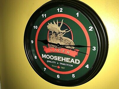 Moosehead Canada Beer Bar Man Cave Advertising Black Wall Clock Sign