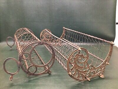 Two Antique Victorian Wall Basket Flower Planter Window Box Iron & Brass ~ As Is