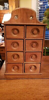 Antique Pine Wood Spice 8 Drawer Cabinet