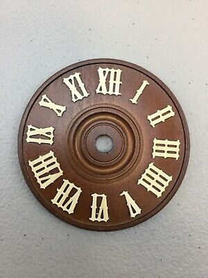 """Cuckoo Clock Dial 3 1//2/"""" Diameter Brown Wood With White Numerals NEW 90 mm"""