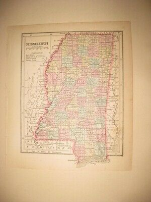 Early Superb Antique 1857 Mississippi Handcolored Map Railroad Jackson Fine Nr