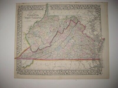Antique 1872 West & Virginia Mitchell Dated Handcolored Map Grape Border Fine Nr