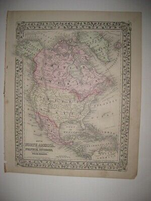 Antique 1872 North America United States Texas Canada Mitchell Dated Handclr Map