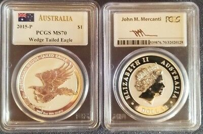 2015 P Australia Silver Wedge Tailed Eagle Pcgs Ms 70 Mercanti Signed Low Pop!!