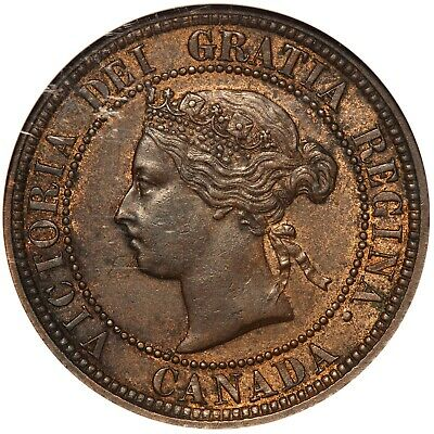 1881-H Canada Large One Cent Penny Coin - NGC MS 60 BN - KM# 7