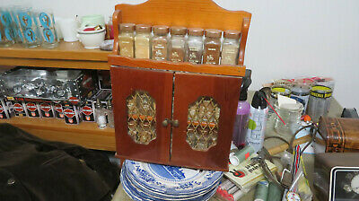 Vtg 1970s Wooden Spice Rack Wall Hanging OR table top With Spices Crystal Food