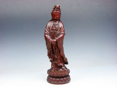 Vintage Rosewood Highly Detailed Hand Carved Kwan-Yin Buddha Prayer Beads #A1