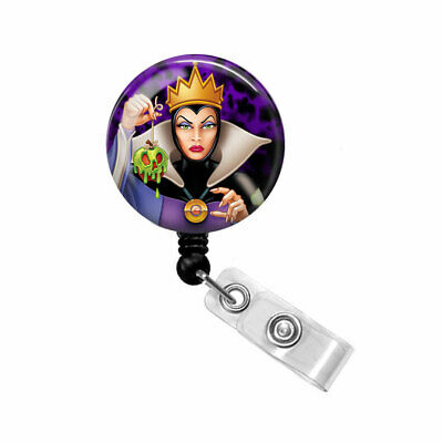 Bling Badge Reel Name ID Pull Clip Holder Lanyard Snow White Evil Wicked Queen