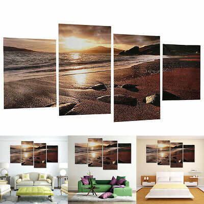 4Pcs Frameless Wall Hangings Picture Sunset Beach Art Painting Home Room Decor