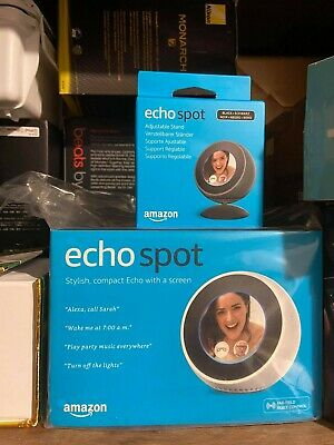 Amazon Echo Spot Smart Home Speaker - White + Adjustable Stand Brand New