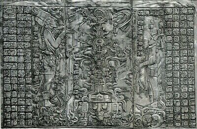 Mexico, Palenque, temple of the Cross, sculpture.....Antique engraving  1880