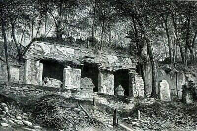 Mexico, Mayan Palace of Palenque.....Antique engraving  1880