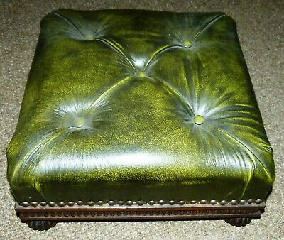 Foot Stool Victorian Green Leather Topped  on Raised Legs 17cm tall 37cm Sq vglt