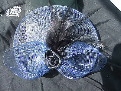 New navy fascinator/brooch with black feather and bead trim