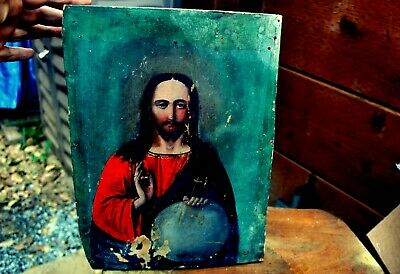 Antique 19th Century Russian Hand Painted Wood Orthodox Icon Jesus Christ