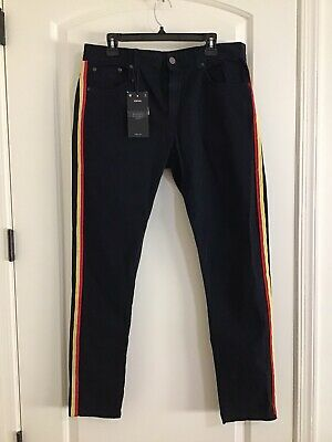Zara Man Men's Comfort Denimwear Dark Blue With Side Stripes Jeans 34x30 NWT