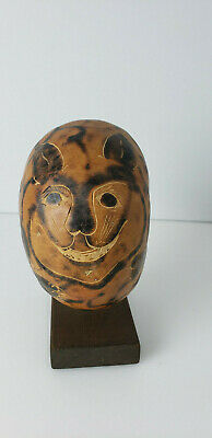 """Hand Carved Ornamental Ball  is empty inside cat or tiger based 8.5"""" H"""