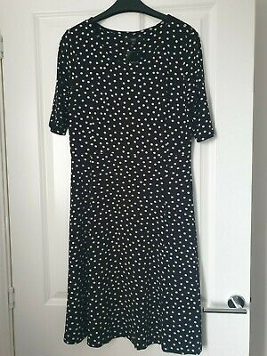 Next Monochrome Black White Polka Dot Spot Mid Sleeve Floaty Skater Shift Dress