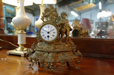 Antique French Gilt Spelter Figural Clock Porcelain Face Dutch Style Decoration