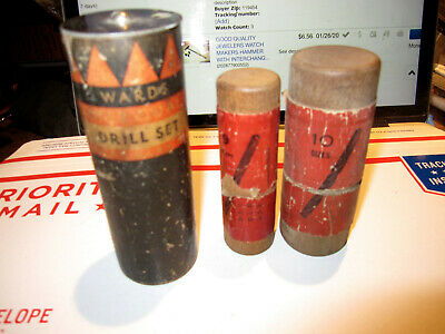 Vintage Lot Of 3 Containers Of Good Quality Drill Bits Fulton, Wards And Unknown