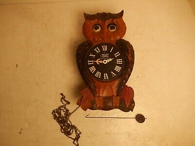 Vintage Poppo Tezuka Animated Moving Eye Owl Novelty Wood Clock Parts