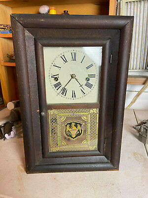 Antique Vintage Seth Thomas Wind Up Spring  Shelf Clock Reverse Painted Glass