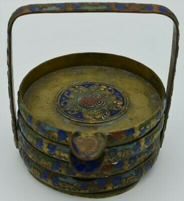 Antique Chinese enamel on brass copper coaster tray set of 4
