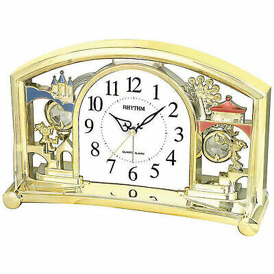 NEW Gold Fairground Quartz Table Clock - Rhythm,Clocks