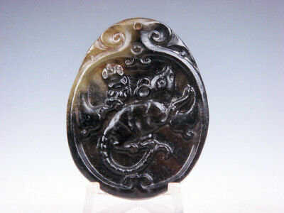 Old Nephrite Jade Hand Carved *Zodiac Mouse Rat & Treasure* Pendant #02102004